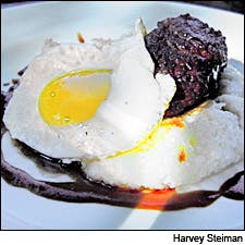 Photograph of steak and eggs by Harvey Steiman