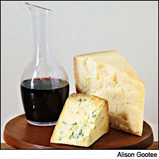 Photograph of wine and cheese by Alison Gootee