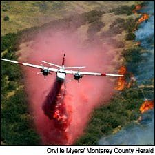 Photograph of wildfire by Orville Myers/Monterey County Herald