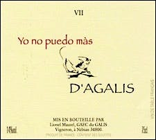 Label for Du Galis Vin de Table Français d'Agalis Yo no puedo màs VII