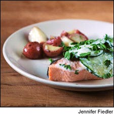 Poached Salmon with a Cucumber Yogurt Sauce and Boiled New Potatoes