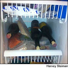 Photograph of James Laube's freezer by Harvey Steiman