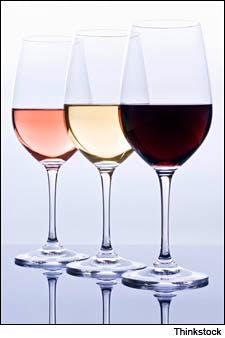 Photograph of three wine glasses from Thinkstock.