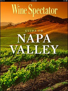 Home screen for the Wine Spectator Guide to Napa Valley iPad app