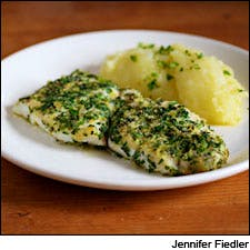 Herb-Crusted Sole with Olive-Oil Mashed Potatoes