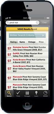 WineRatings+ for iPhone: Pinot Noir search results