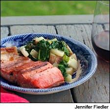 Lemon-Butter Grilled Salmon and Charred Kale Potato Salad