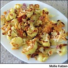 Cheese-crusted roasted cauliflower by Mollie Katzen