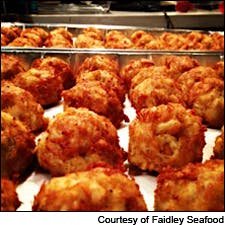 Photo of Faidley's crab cakes courtesy of Faidley Seafood
