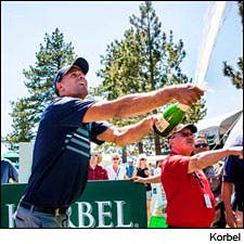 Korbel Champagne Spray-Off.
