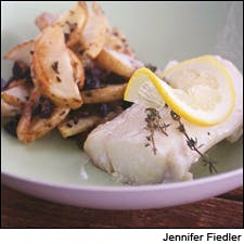 Roast Cod with Potatoes, Olive and Thyme