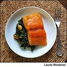 Honey-Glazed Salmon with Sautéed Kale and Wakame