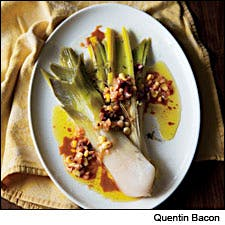 Braised leeks with corn and chipotle vinaigrette by Quentin Bacon