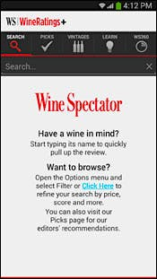 Screenshot of WineRatings+ search page