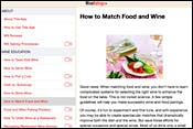 Screenshot of WineRatings+ Learn section, with an article on matching wine and food