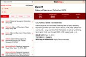 Screenshot of WineRatings+ search results for Napa Cabernet