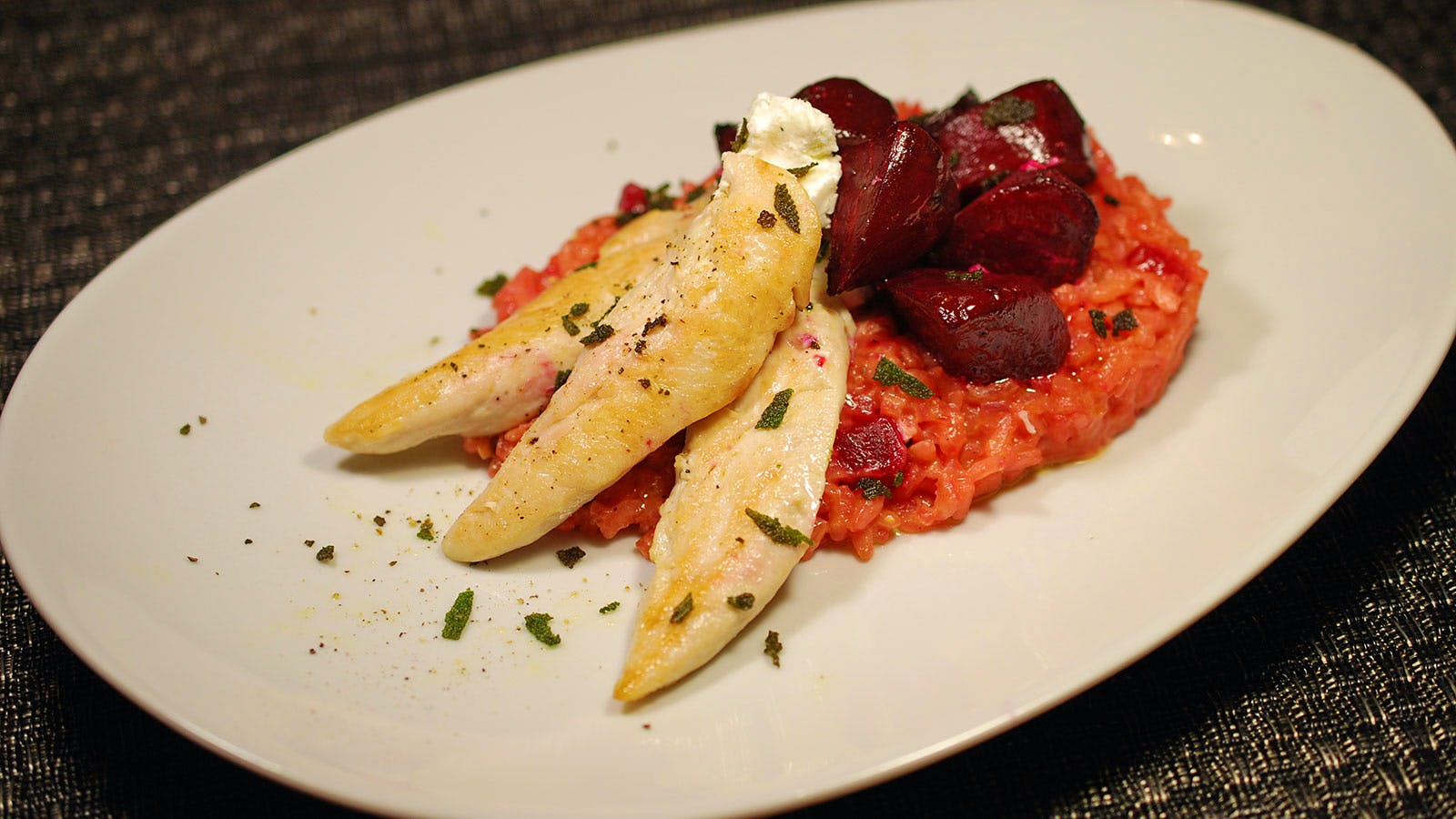 8 & $20: Beet Risotto with Herbed Chicken Tenders