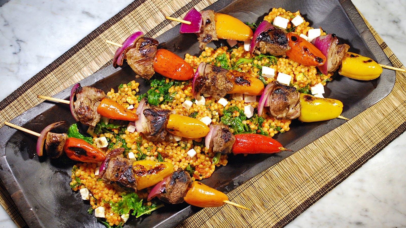 8 & $20: Lamb Kebabs With Israeli Couscous Salad