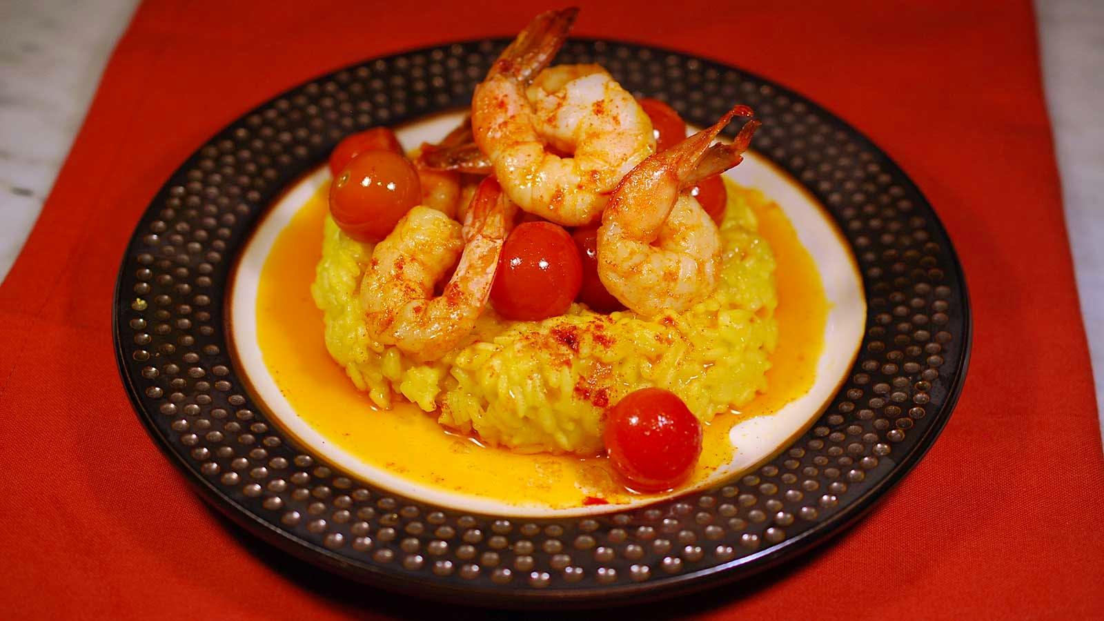 8 & $20: Smoky Paprika Shrimp With Saffron-Lemon Pilaf