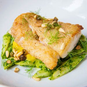 Pan-Seared Hake With Salsify, Fennel-Saffron Puree and Pine-Nut Pistou