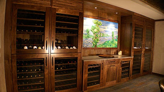 Moe and Mar Alkemade Temperature-Controlled Wine Wall & A Wine Cellar Stocked With Collectible Napa Gems | Private Cellars ...
