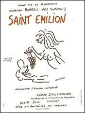 Château Barrail des Graves wine label by Georges Wolinski