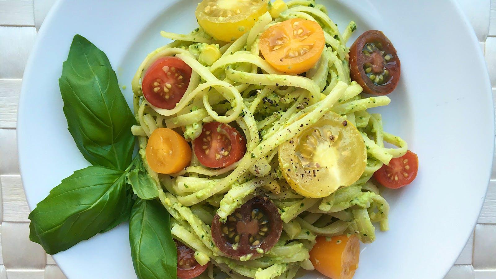 8 & $20: Avocado-Basil Pasta with a Creamy Italian White