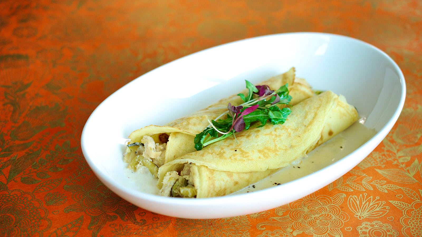 8 & $20: Creamy Chicken and Vegetable Crepes