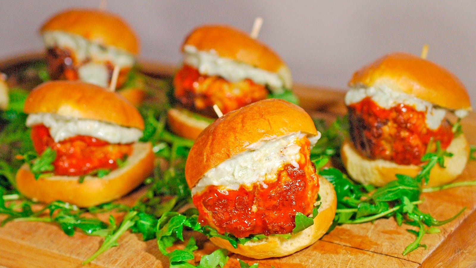 8 & $20: Buffalo Chicken Meatball Sliders