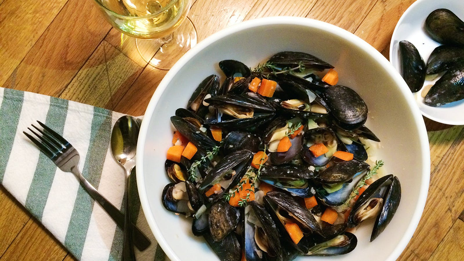 White Wine–Steamed Mussels with Beans and Vegetables
