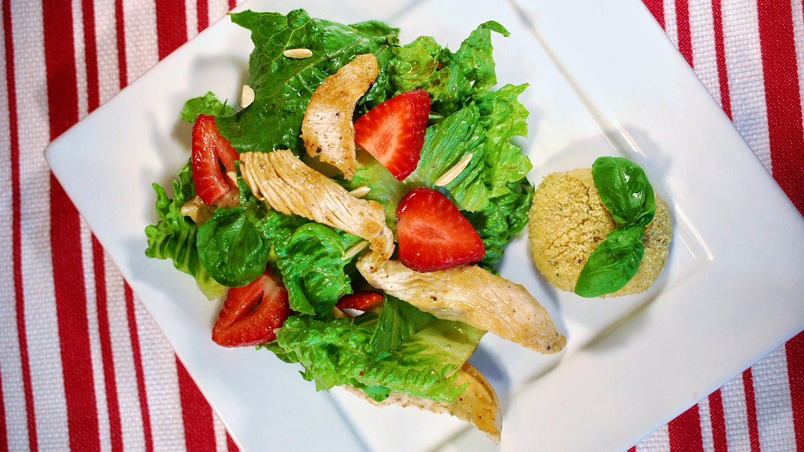 8 & $20: Turkey and Strawberry Salad with Baked Goat Cheese
