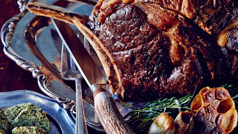 Slow-Cooked Rib Eye Steaks With Green Garlic Butter for an Easter Feast