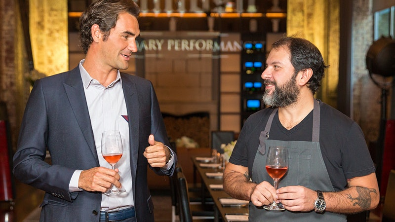 Sous Chef Roger Federer in the Kitchen with Enrique Olvera and Moët & Chandon