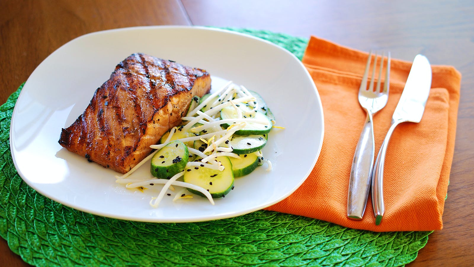 8 & $20: Miso-Sesame Salmon with Cucumber Salad