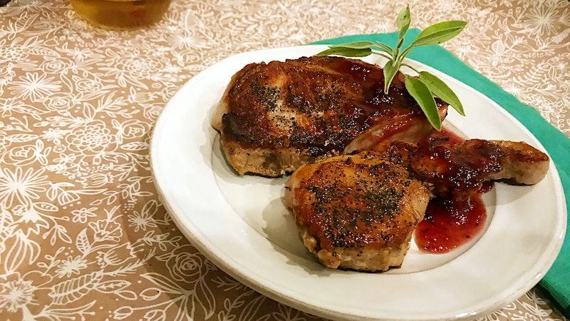 8 & $20: Autumn Pork Chops à la Cranberry Sauce