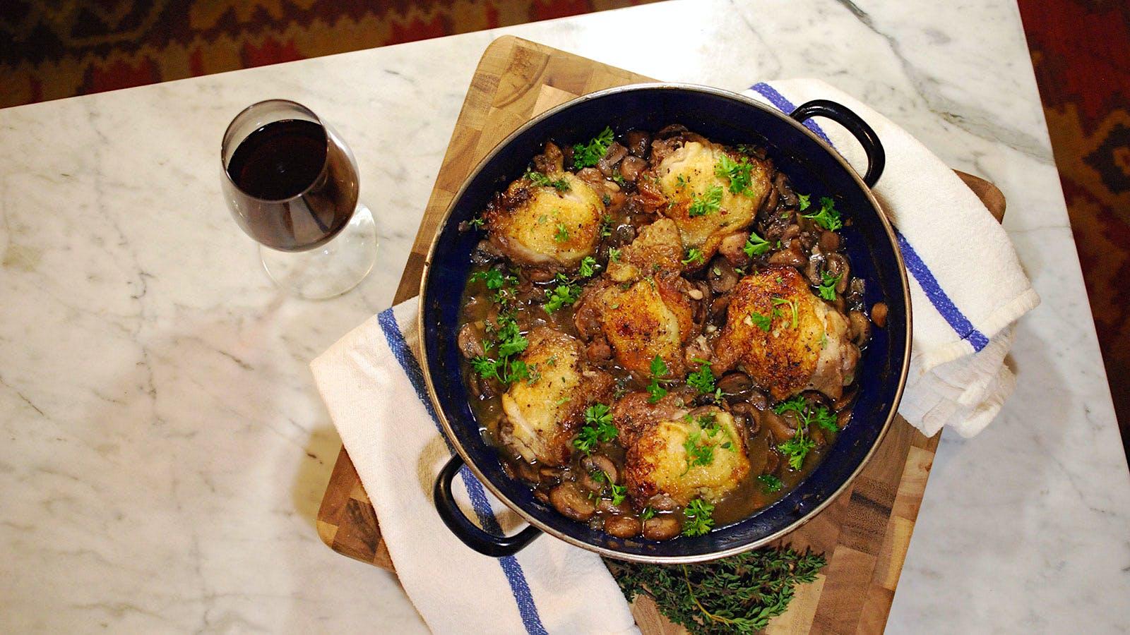 Braised Chicken Thighs in Mushroom Sauce