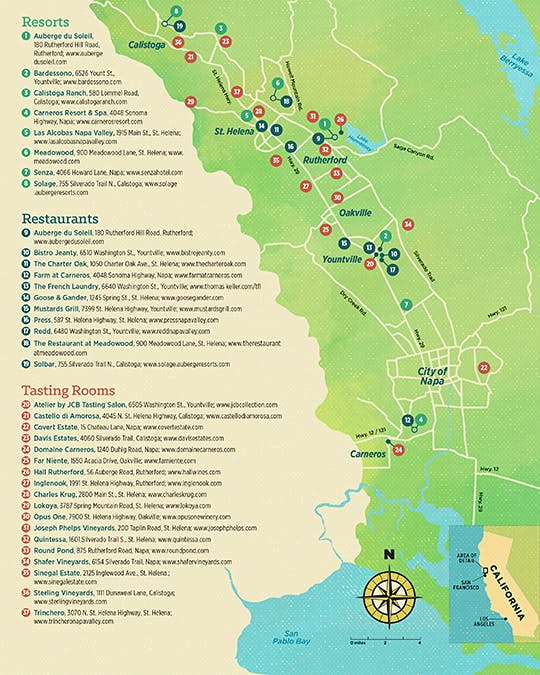 Guide to Napa Valley venue map