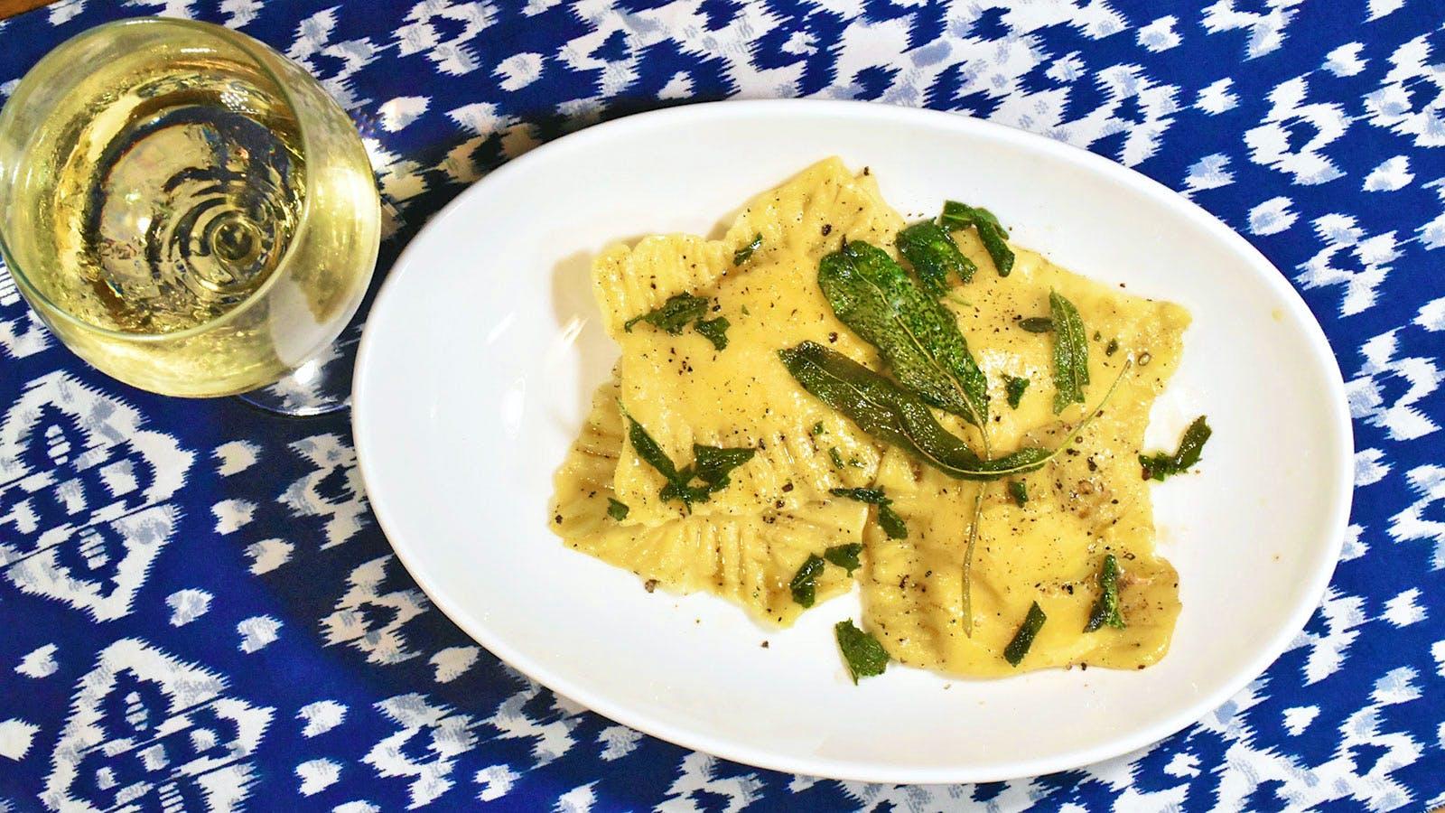 8 & $20: Butternut Squash Ravioli in Brown Butter with Crispy Sage