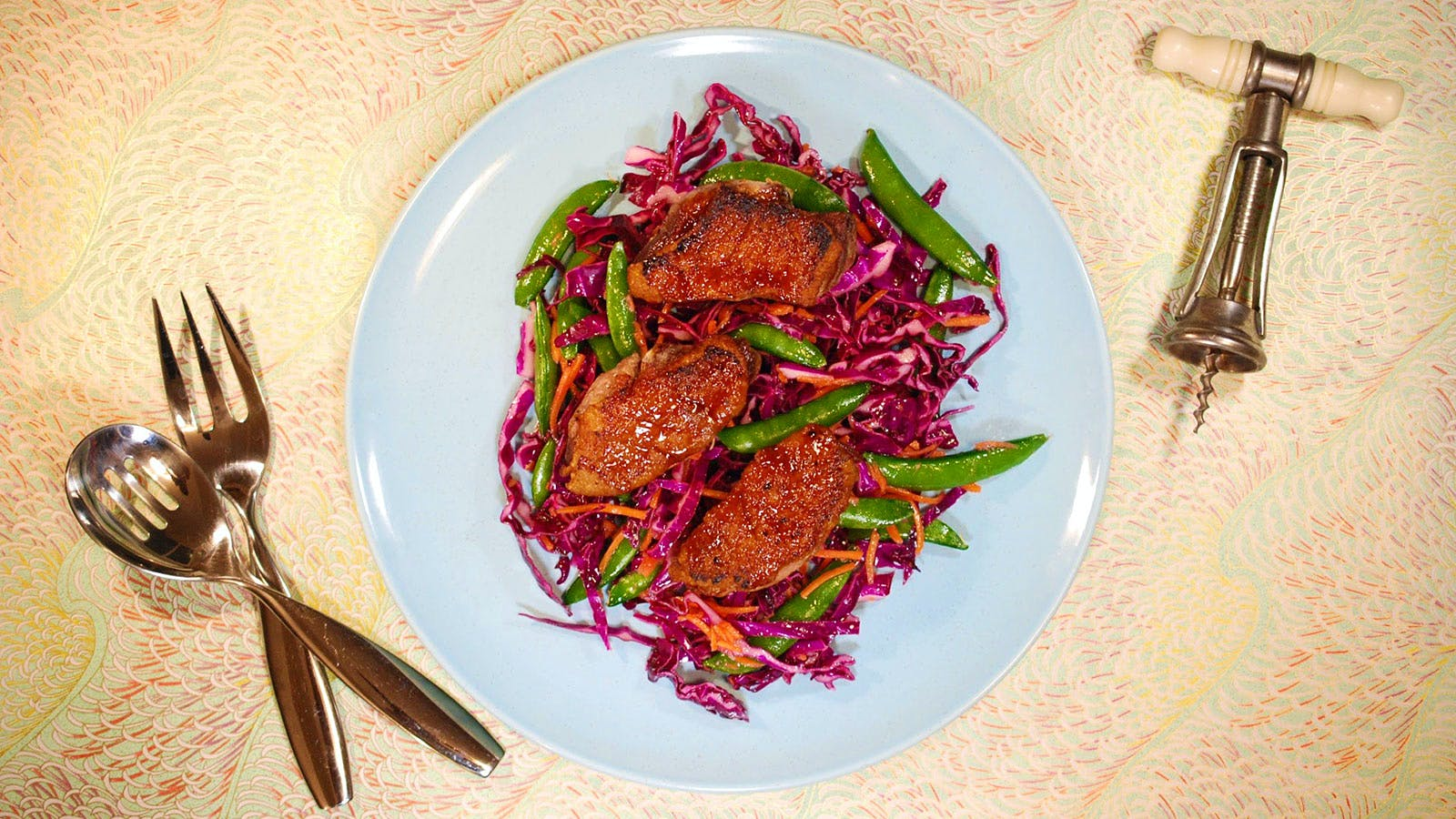 8 & $20: Plum-Soy Duck Breast with Asian Slaw