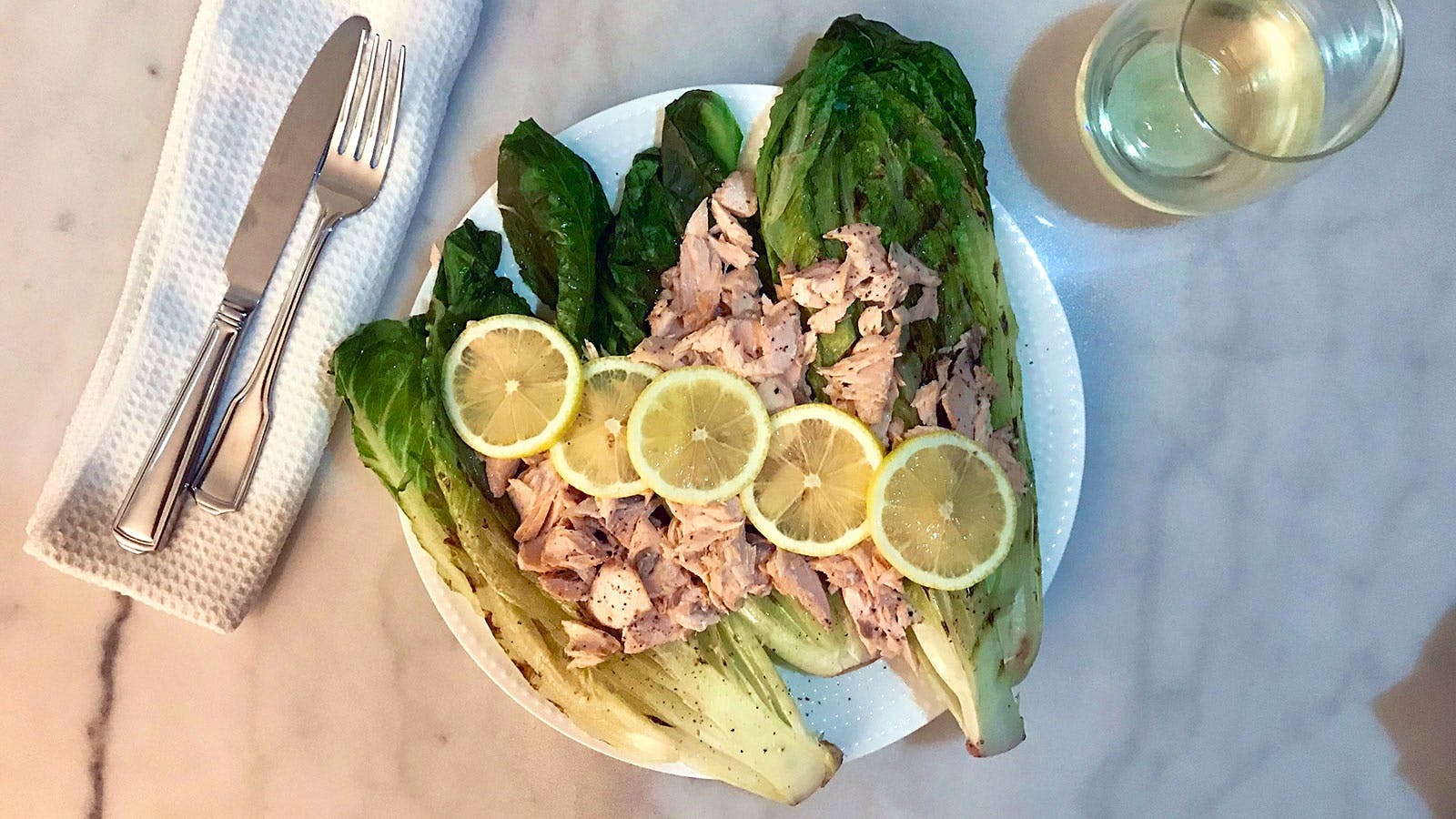 Caesar Salad with Salmon and Grilled Romaine