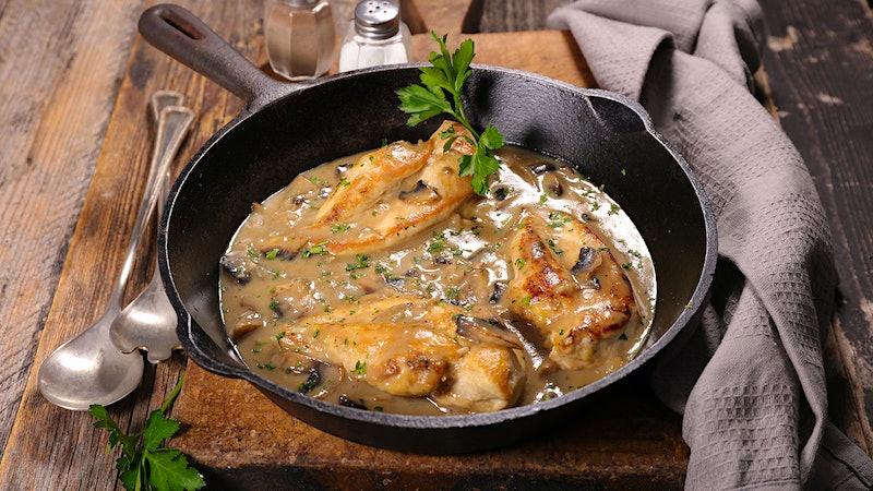 8 & $20: Chicken in Creamy Mushroom and White Wine Sauce