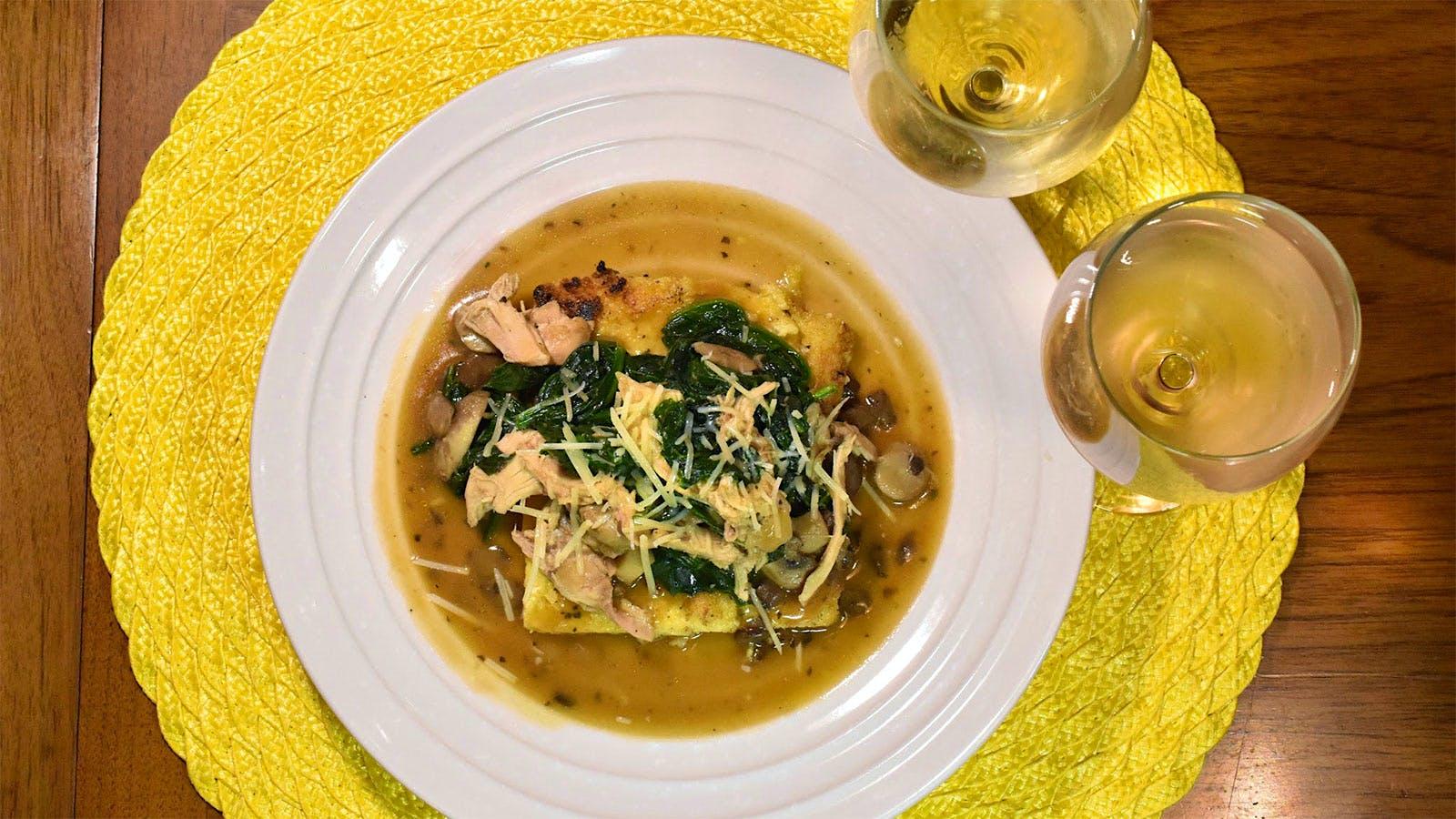 8 & $20: Crispy Polenta with Chicken and Vegetable Sauté