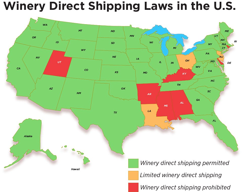US Wine Shipping Laws State By State News News Features - Michigan wineries map
