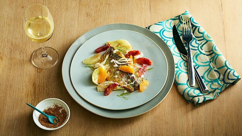 Perfect Match Recipe: Seared Branzino with Winter Citrus, Fennel & Yogurt