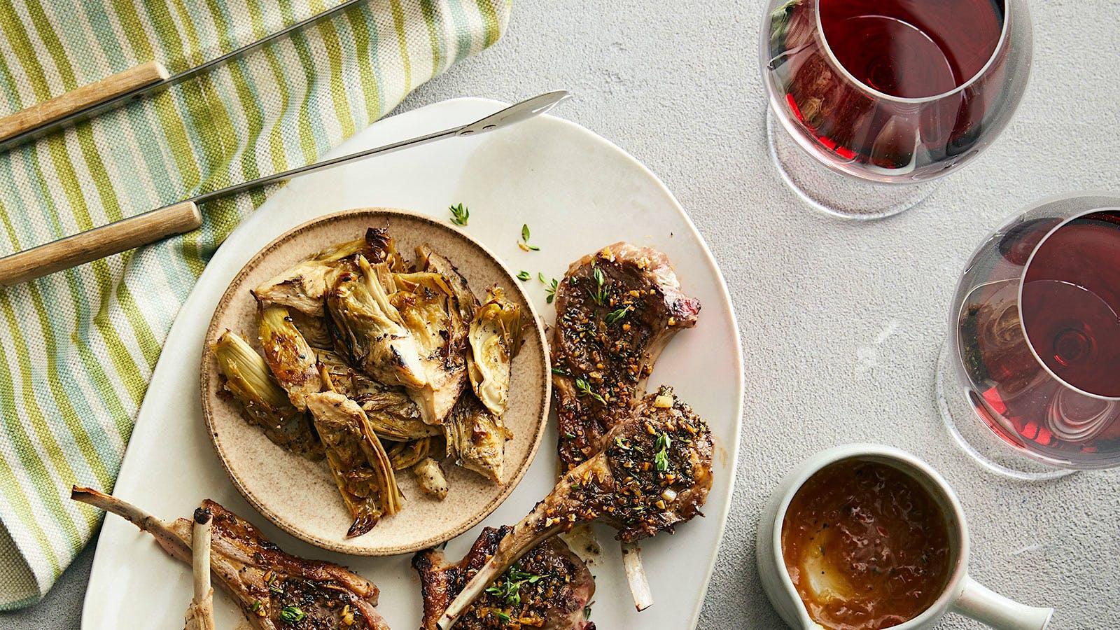 Perfect Match Recipe: Lamb Chops <i>Scottadito</i> with Artichokes and Honey Lavender Sauce