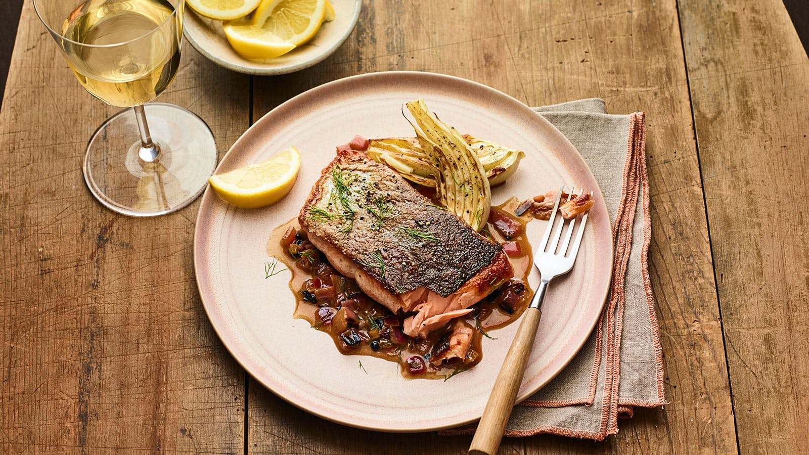 Roast Salmon with Fennel and Charred Onion Sauce