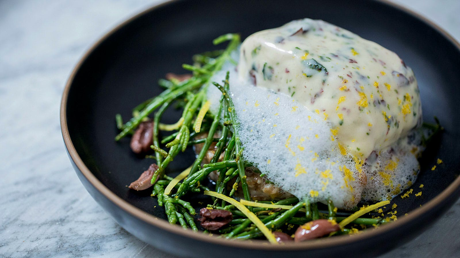Striped Sea Bass with Spelt and Seaweed Beurre Blanc