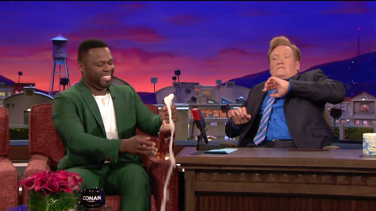 50 Cent Literally Launches New Champagne on 'Conan'