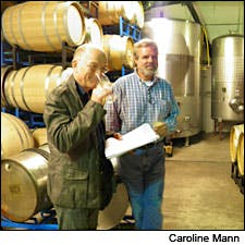 Photograph of Oz Clarke and Bedell winemaker Richard Olsen-Harbich