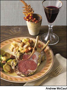 Mustard-Crusted Lamb Rack With Roasted Root Vegetable and Chestnut Stuffing
